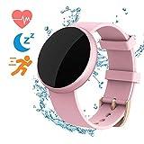 Reloj inteligente para mujer, compatible con iPhone y Android, resistente al agua, monitor de ritmo cardíaco, calorías y sueño, para mujer, control de ciclo menstrual, notificación rosa