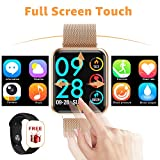 YENISEY Reloj Inteligente Actividad Tracker, Bluetooth Smartwatch,Full Touch Presión Arterial Monitor de Frecuencia Cardíaca Sleep Health de SmartWatch para Hombre Mujer Compatible con iOS Android