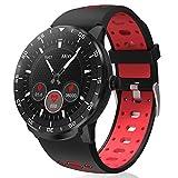 Smartwatch Reloj Inteligente, HopoFit HF06 Pantalla Táctil Completa Circular Impermeable Podómetro Pulsómetros, Monitor de Sueño, Notificación Llamada y Mensaje,para Andriod iOS,Hombres Mujeres (Red)
