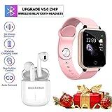 Smartwatch, Reloj Inteligente IP67 Impermeable Deportivo Hombre Mujer Pulsera y Auriculares Bluetooth, Full Touch de Reloj con Pulsómetros Podómetro y Monitor de Sueño para Android iOS K8 (Rosa)