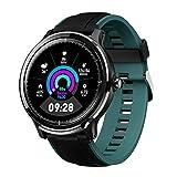 Bluetooth Smartwatch Hombre Reloj Inteligente Impermeable IP68 Pulsera Actividad Monitor de Sueño Calorías Podómetro Pulsómetro Notificación de Llamada y Mensaje para Android y iOS (Verde oscuro)