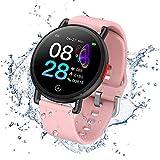 Smartwatch IP68 - Reloj inteligente para fitness y deporte, podómetro, pulsómetro, reloj de sueño, para niños, mujeres, hombres, compatible con Android iPhone (rosa)